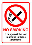 No smoking sign. A No smoking in these premises sign Stock Photo