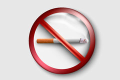 No smoking sign with a realistic cigarette. 3D no smoking sign with a realistic cigarette Stock Image