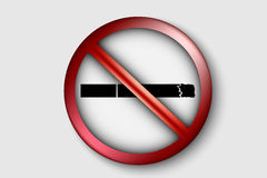 No smoking sign with a realistic cigarette. 3D no smoking sign with a realistic cigarette Royalty Free Stock Photography