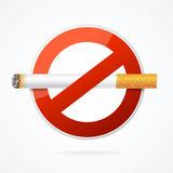 No Smoking Sign with Realistic Cigarette. Vector Stock Images