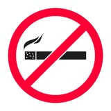 No smoking sign in red color - illustration. Stop smoking symbol - no sign - prohibition vector illustration