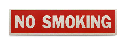 No Smoking Sign. Red Rectangle No Smoking Sign Isolated on a White Background Royalty Free Stock Images