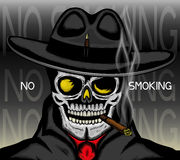 No smoking sign with skull. Stock Photo