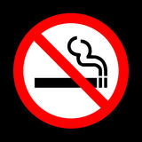 No smoking sign vector on black background Stock Image