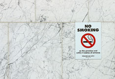 No Smoking sign on the wall of a public building Royalty Free Stock Photography