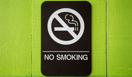 NO SMOKING sign. Sign with NO SMOKING in white and black on green wood background Royalty Free Stock Images