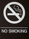 NO SMOKING sign. Sign with NO SMOKING in white letters and braille on black background Royalty Free Stock Image