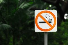 Free No Smoking Sign With Steel Pole Is In A Public Park Royalty Free Stock Photos - 109230538