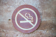 No Smoking Sign, An wood  sign with cigarette icon and not symbo Stock Photos