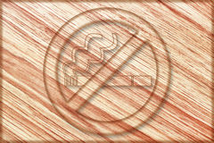 No smoking sign on wooden board Royalty Free Stock Photos