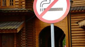 No smoking sign on wooden building background stock video