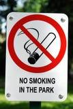 No Smoking signpost. No Smoking in the Park signpost stock images