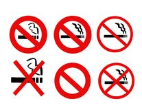 No Smoking Signs collection vector Stock Image