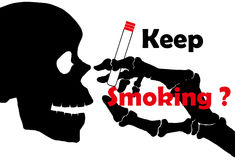 No smoking: Skull with no smoking on  background Stock Images