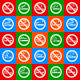 No smoking and smoking area - Big set stickers Stock Image