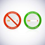 No smoking and Smoking area labels. Royalty Free Stock Image