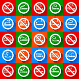 No smoking and smoking area - Set stickers Royalty Free Stock Photos