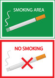 No smoking and smoking area sign. Color  illustration Stock Photo