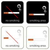 No Smoking & Smoking Area - signs Royalty Free Stock Images