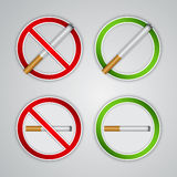 No smoking and Smoking area signs Stock Photos