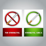 No smoking and Smoking area signs Stock Photography
