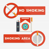 No smoking and smoking area signs Stock Photo
