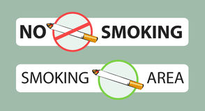 No smoking and smoking area signs. Vector illustrations. Sticker layout Stock Images