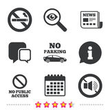 No Smoking, Sound. Private territory parking. Royalty Free Stock Image