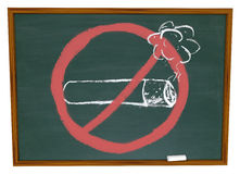No Smoking Symbol on Chalkboard. The No Smoking symbol over a cigarette drawn on a chalkboard stock photography