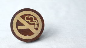 No Smoking Symbol paint on wooden sign with copy space stock video