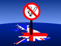 No smoking in UK. Map and flag of united kingdom with giant no smoking sign Royalty Free Stock Photography