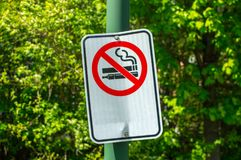 No smoking and vaping sign in the public park royalty free stock image