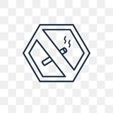 No Smoking vector icon isolated on transparent background, linea royalty free illustration