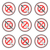 No smoking vector signs. Royalty Free Stock Photography
