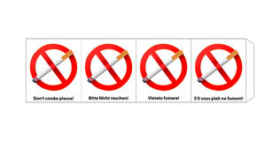No smoking. Vector template, four sided no smoking sign on four languages , gradient mesh used Stock Image