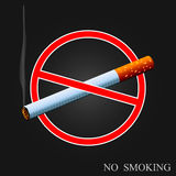 No smoking. Warning sign isolated on a dark background Stock Images
