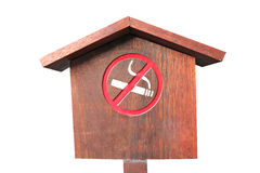 No smoking of wooden sign. Royalty Free Stock Image
