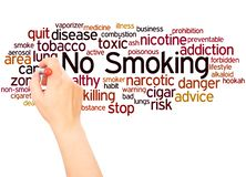 No Smoking word cloud hand writing concept stock image