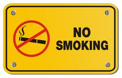 No smoking yellow sign - rectangle sign Royalty Free Stock Images