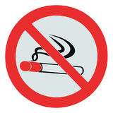 No smoking zone prohibition sign, isolated crossed cigarette Royalty Free Stock Photo
