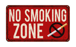 No smoking zone vintage metal sign Stock Image