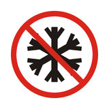 No snowflake. no frozen. Red prohibition sign. Stop symbol Stock Photography