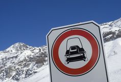 No snowmobile sign Royalty Free Stock Image