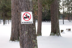 No Snowmobiling Stock Photo