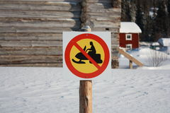 No snowmobiling sign. In sweden Royalty Free Stock Image
