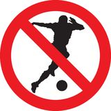 No soccer play sign. No soccer play allowed sign Royalty Free Stock Photos