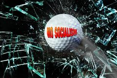 No Socialism Breaking Glass. No Socialism golf ball breaking glass royalty free stock photography