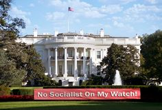 No Socialism on my Watch. Sign in front of White House stock image