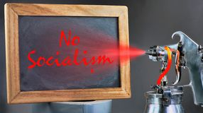 No Socialism Paint. No Socialism spray painting on blackboard royalty free stock image