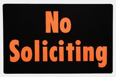 No soliciting sign. Royalty Free Stock Photography